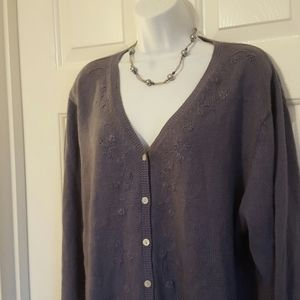 Slate Blue Cardigan with Embroidery 1X